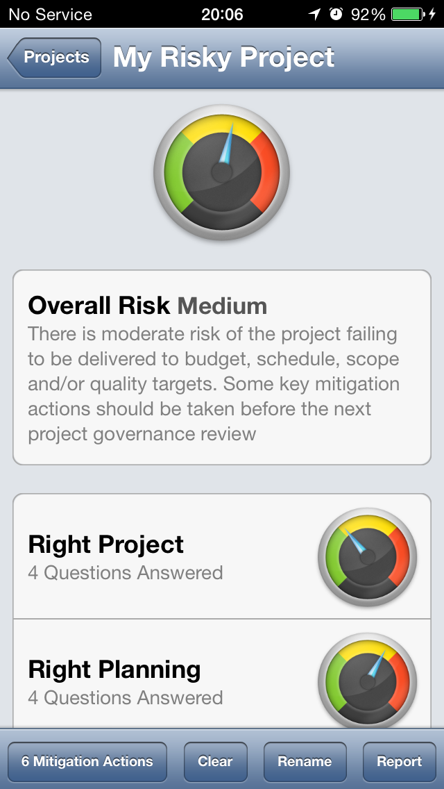 Project Risk Gauge, My Risky Project