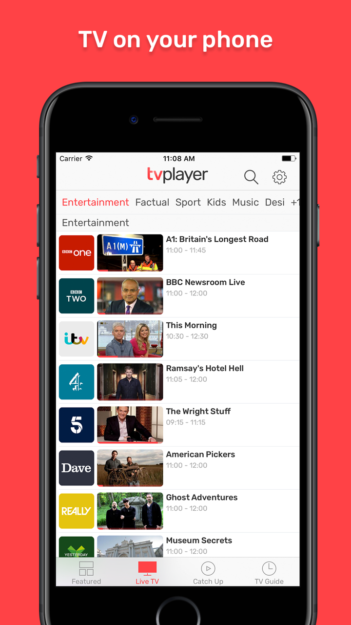TVPlayer, Live